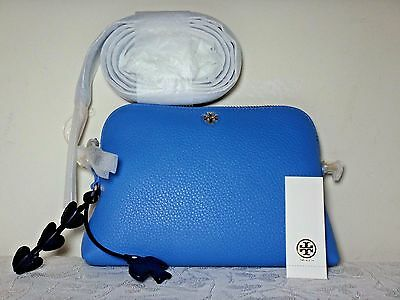 7e20a6557e0 NWT Tory Burch Peace Gift Giving Solid Leather Crossbody, Montego Blue
