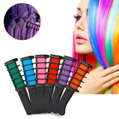 6Colors Hair Chalk Comb Disposable Instant Hair Color Cream For Dyeing Party