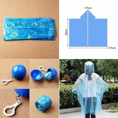 Unisex Raincoat Disposable Rain Jacket Poncho Rainwear W/ Keyring Ball Practical