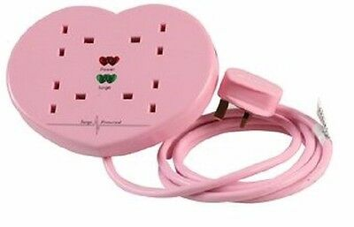 Pink Heart Shaped Surge Protected Extension Lead, 4 Way 2m 4 Gang