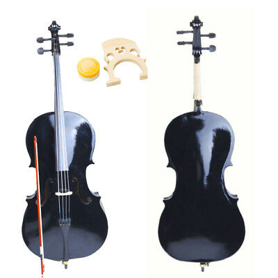 New 4/4 Full Size Student Wood Cello + Bag + Bow + Rosin + Bridge Black UK