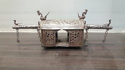 Antique Indian 80% Solid Silver Palanguin Palki Holy Pooja Statue