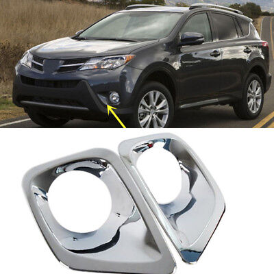 For Toyota RAV4 2013-2015 2PCS ABS Chromed Front Bumper Fog Lamp Grille Covers