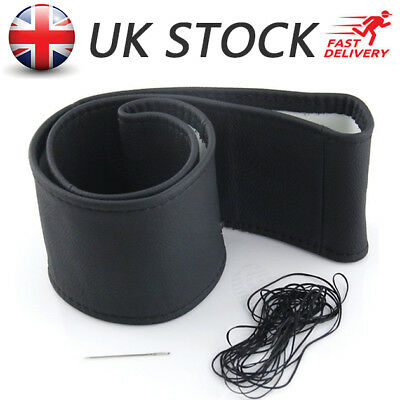 Top Car Truck Leather Steering Wheel Cover With Needles and Thread Black DIY UK