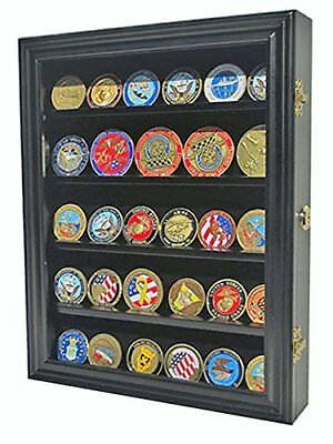LOCKABLE 30 Military Challenge Coin Poker Chip Display Case Shadow Box COIN30 BL