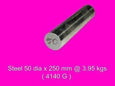 Steel 50 dia x 250 mm Peeled & Polished Bar 4140-High Tensile-Lathe