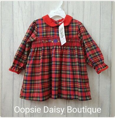 Baby Girls Gorgeous Smocked Romany Style Tartan Dress 12mth 18mth 24mth