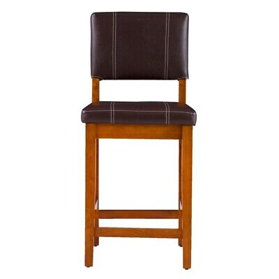 Linon Milano 24 Counter Stool Counter Height Without Arms No Swivel In Walnut