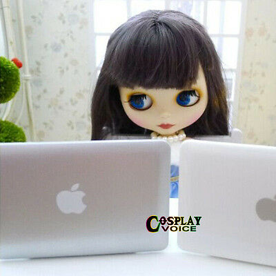 BJD Doll Toy Mini Laptop Mirror Mac Book Dollfie DOD Blythe Sliver White