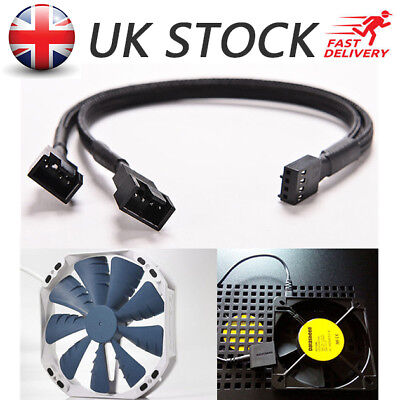 PWM 3/4 pin Y Splitter Computer PC CPU Fan Power Cable Black Sleeved Braided UK