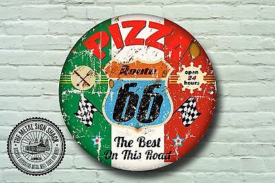 Route 66 Pizza Metal Sign, Cars, American, Gas, Classic, Garage Decor, 961