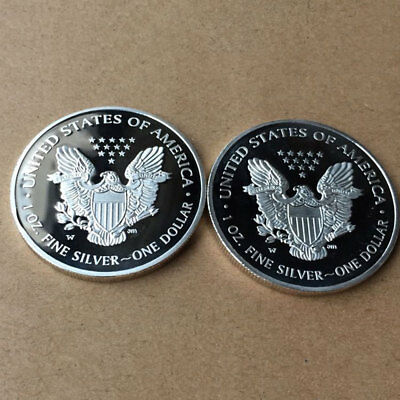American Silver Color Dollar Eagle Pattern Coins Museum Home Coin Collection