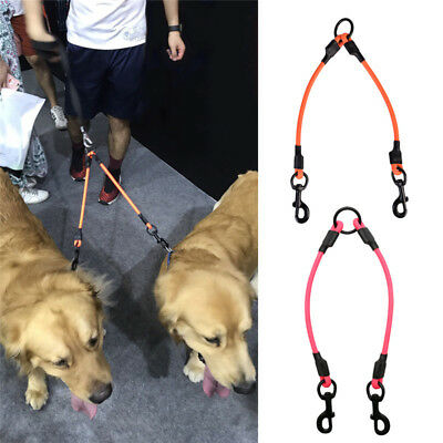 Double Dog Coupler Twin Lead 2 Way For Two Pet Dogs Walking Leash Belt Safety