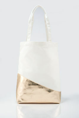 Tote Bag Womens Premium Canvas in White and Metallic Gold