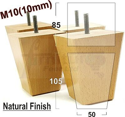 4x WOODEN BLOCK FURNITURE LEGS FEET FOR SOFAS SETTEES, CHAIRS FOOTSTOOLS M10