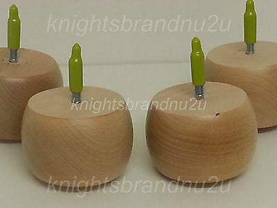 4x WOODEN BUN FEET - WOODEN FURNITURE LEGS - FOR SOFA, CHAIRS, STOOLS M8