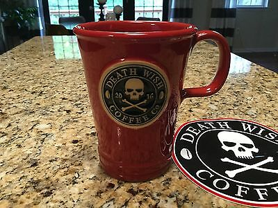Death Wish Coffee 2016 Red Mug/Cup made by Deneen Pottery 2015 Production Run.