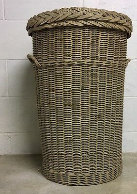 Antique 1920's Heywood Wakefield Hamper Laundry Basket Wicker or Rattan With TAG