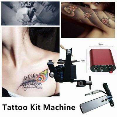 Tattoo Kit Machine Power Supply With Adapter Needle Mouth Pigments Accessory BM