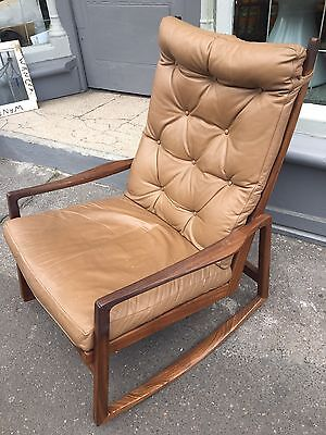 Vintage Rocking Chair Armchair Leather Mid Century Danish Scandinavian Retro