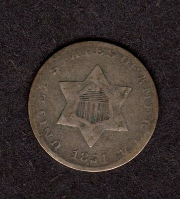 $US coin 1851 3 cent silver, G+