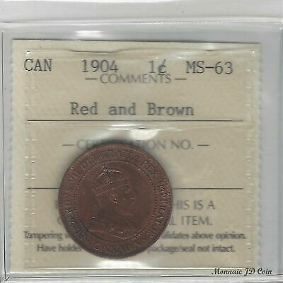 1904  Canada 1 cent Large Penny Certified By ICCS MS-63 Red And Brown  (DF939)