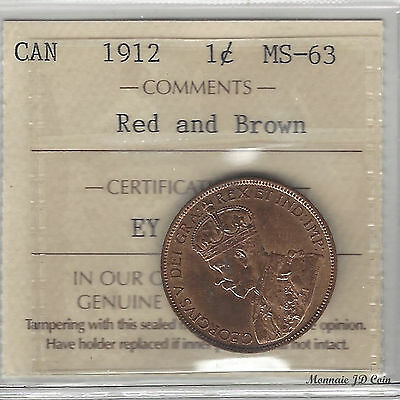 1912 Canada 1 Cent Large Penny Certified By ICCS MS-63 Red And Brown (EY865)