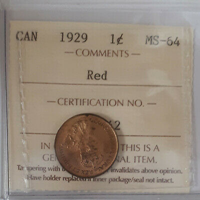 1929 Canada  One Cent Certified By ICCS MS-64 Red  (BK642)