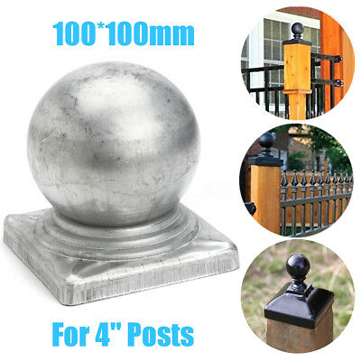 AU 100mm Silver Iron Post Caps Zinc Round Ball Finial for 4'' Square Posts Fence