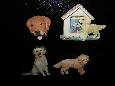 Lot of 4 Collectible Golden Retriever Refrigerator Magnets (B)