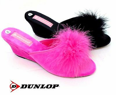 Ladies Dunlop Mule Slippers New Marilyn Wedge Slip On House Shoe Size 3 - 8