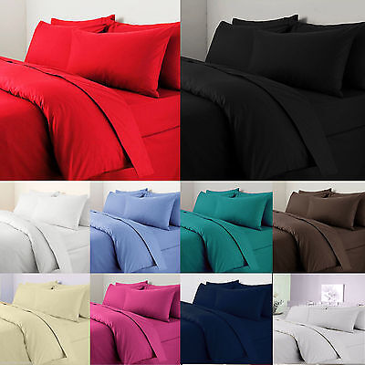 400 Thread Count 100% Egyptian Cotton Fitted, Flat, Valance, 4 Pcs Duvet Set