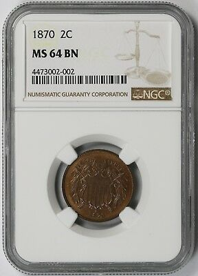 1870 Two-Cent 2C MS 64 BN Brown NGC