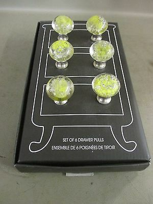 YELLOW-WHITE LACE GLASS DRAWER CABINET PULLS KNOBS Reproductions Set of 6