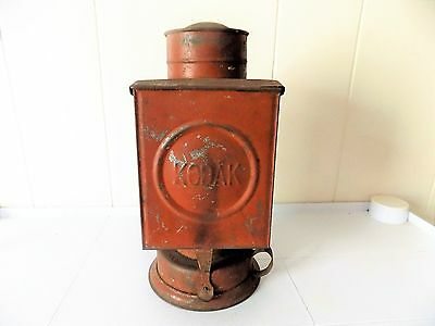 Antique KODAK Safe-Light Darkroom Kerosene Lamp W/Red & Amber Glass Filters