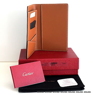 Cartier Authentic Passport Wallet Card Holder Black/Camel Leather New in Box