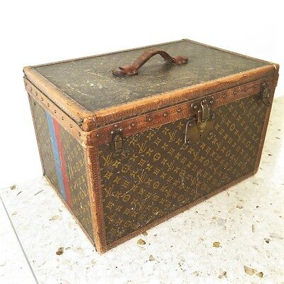 VINTAGE ORIGINAL LOUIS VUITTON SMALL STEAMER TRUNK MONOGRAM CANVAS EJL 1920s