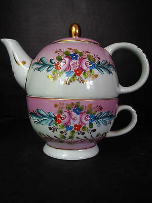Vintage Limoges Stacking Teapot~Raised Gold Encrusted Hand Paint Pink Round Set