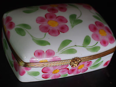 Large Vtg Limoges France Peint Main Pink Floral Jewelry Dresser Trinket Box 5.5""