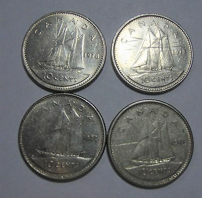 1971, '72, '73 and '78 Canada 10 cent coins - lot of 4