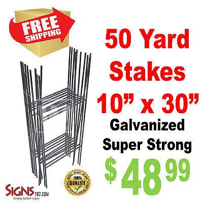 "50 -10""x30"" ""H"" Wire Step Stakes - Yard Sign Wire Stands - Political Campaigns"