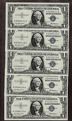 5 1957 One Dollar Blue Seal Bills In Consecutive Order  Uncirculated