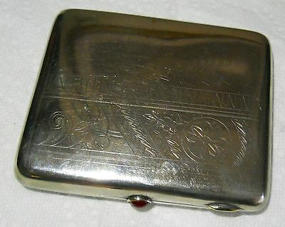 "Antique Russian Solid Silver Cigarette Case Ruby Button Clasp 3.5 by 4 "" 175 gr"