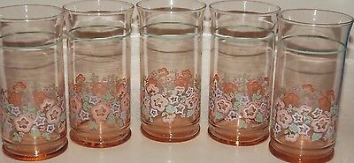 Vintage Libbey Floral Pink & Green With Green Band 5 Twelve Oz Drinking Glasses