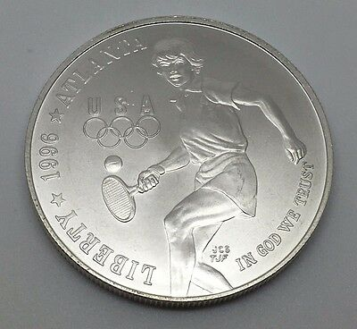 1996 D Usa Atlanta Olympics Tennis Commemorative 90% Silver Dollar Coin