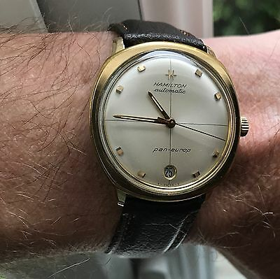 Superb vintage Hamilton Pan-Europ automatic rolled gold watch with original box