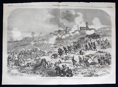 Battle Of Montebello Second Italian War Independence Antique Military Print 1859