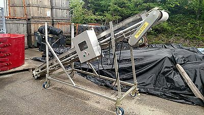 """Stainless Steel Electric Conveyor with SP500 Controls Adjustable Angle 143"""" Belt"""