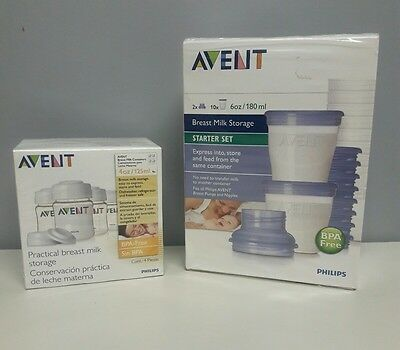 Avent Breast Milk Storage Containers 4Oz & 6Oz - Lot Of 2