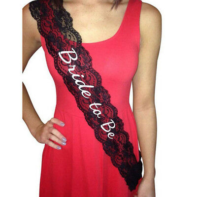 Supplies Party Bachelorette Black Shower Sash Lace Bride To Be Wedding